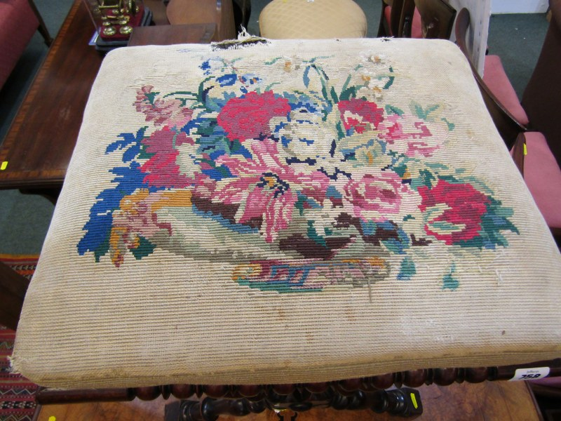 VICTORIAN NEEDLEWORK TOP SQUARE FOOT STOOL, baluster X frame stretcher - Image 2 of 2
