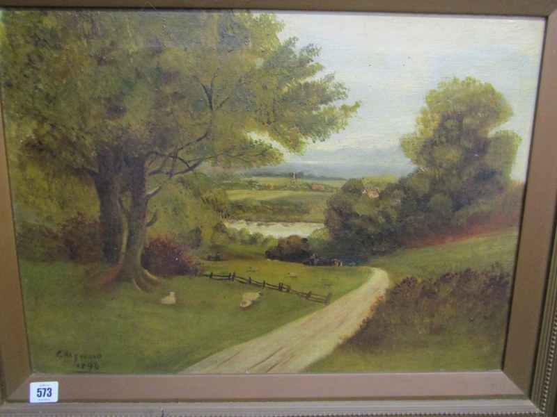 """C. HAYWOOD, signed oil on canvas dated 1896, """"Overlooking the Valley"""", 15.5"""" x 22"""" - Image 2 of 3"""