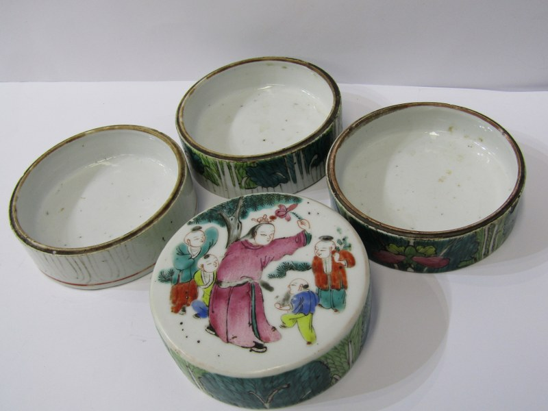 """ORIENTAL CERAMICS, Famille Verte 4 tier cylindrical stacking jar decorated with children playing, 4"""" - Image 5 of 6"""