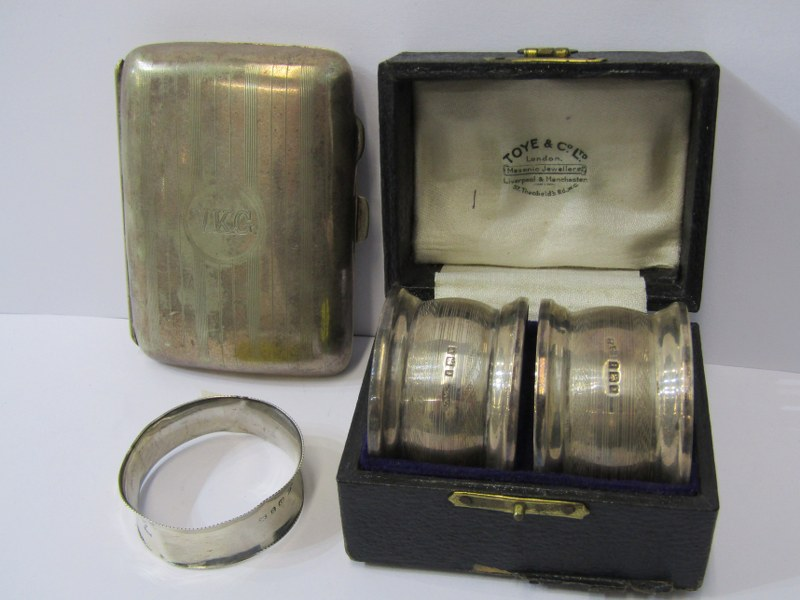 SILVER NAPKIN RINGS, pair of cased silver napkin rings with Birmingham HM, in fitted case retailed