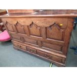 """GEORGIAN OAK MULE CHEST, triple drawer base with attractive panelled front, 38"""" height 55"""" width"""