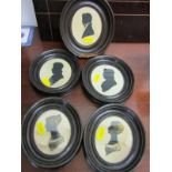 SILHOUETTES, collection of 5 oval framed portraits including 2 gilt heightened studies of late