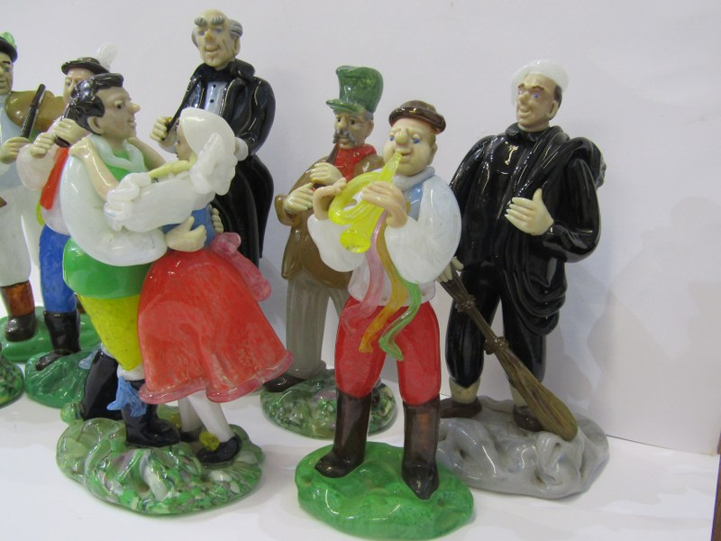 CZECHOSLOVAKIAN GLASS, an interesting collection of 8 coloured glass figures depicting village - Image 2 of 4