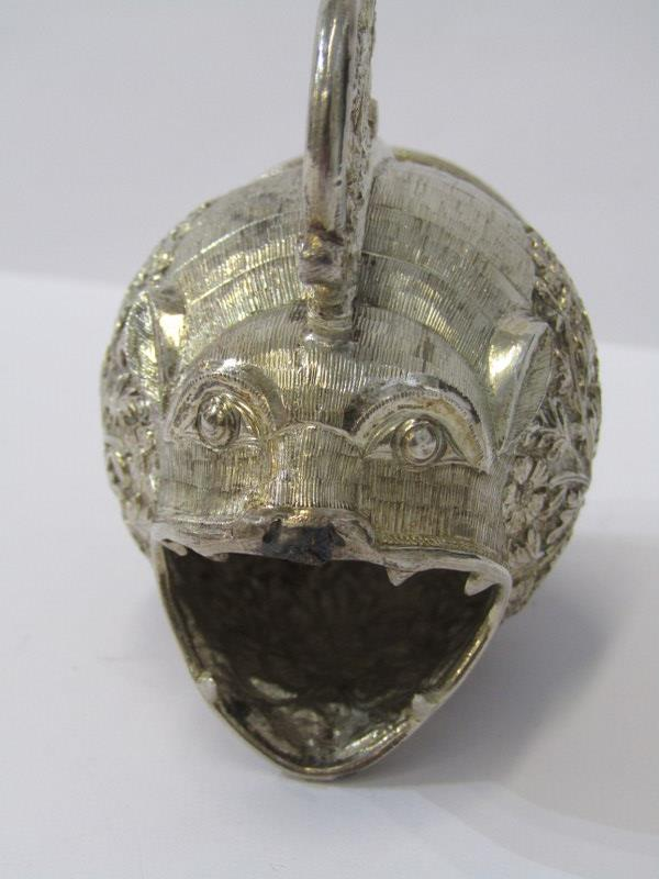 """PERSIAN NOVELTY JUG, white metal jug of a grotesque fish, with ornate foliate body and handle, 3""""( - Image 2 of 5"""