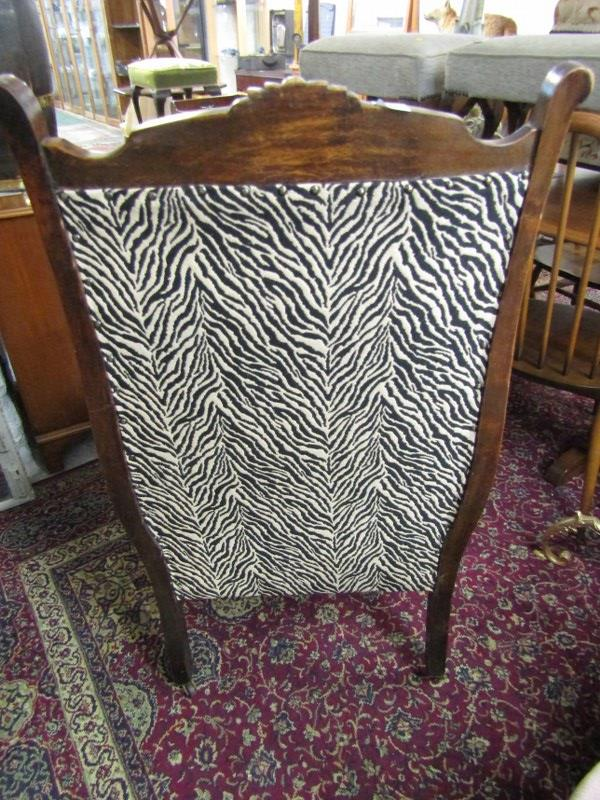 EDWARDIAN OPEN ARMCHAIR, with zebra print upholstery and shaped cabriole legs - Image 2 of 2