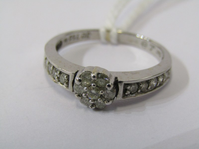 18CT WHITE GOLD DIAMOND CLUSTER RING, principal daisy style illusion set diamond cluster, further