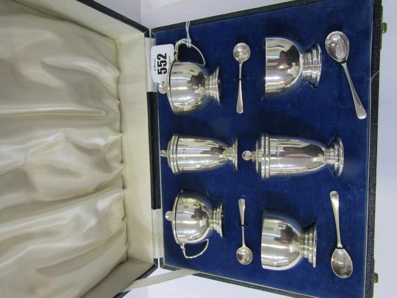CASED SILVER CRUET SET, 6 piece Art Deco design silver cruet set with 4 salt spoons, Birmingham