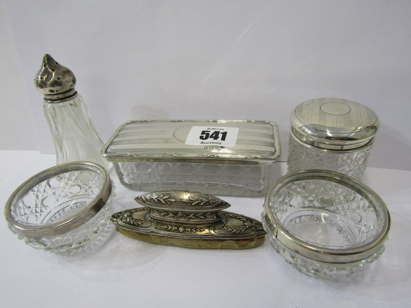 CONDIMENTS & DRESSING TABLEWARE, pair of silver rimmed glass salts, Birmingham HM with a silver