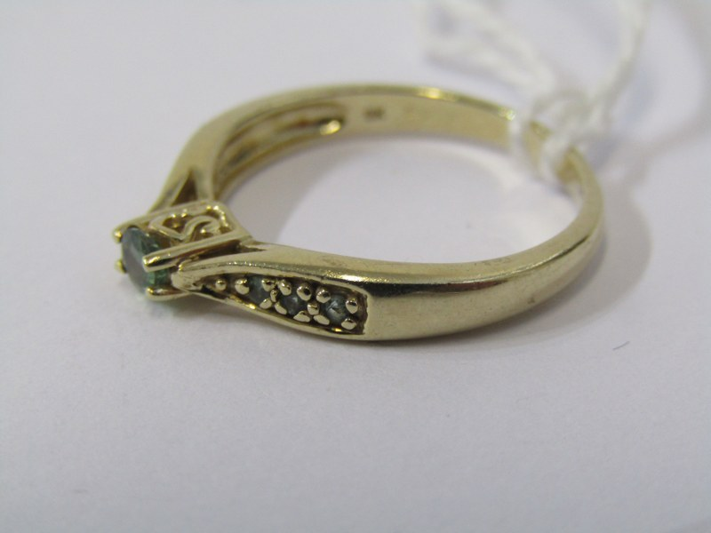 9CT YELLOW GOLD EMERALD SOLITAIRE RING, principal brilliant cut emerald in 4 claw setting with - Image 2 of 4