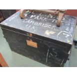 "LUGGAGE, painted wooden storage box, fitted interior tray, 23"" height 35"" width"
