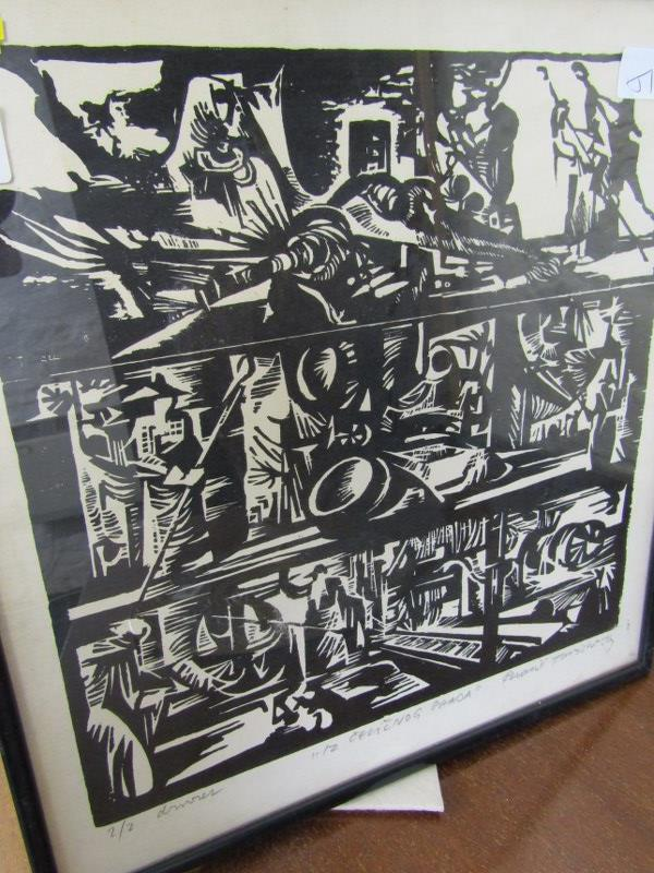 """WOODBLOCK PRINT, signed limited edition """"Celicnog Grada"""", 11"""" x 11"""" - Image 5 of 5"""