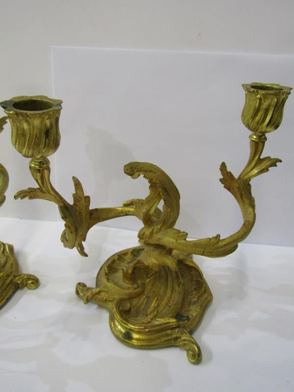 """ROCOCO CANDELABRA, A pair of gilded twin branch foliate design candelabra, 18"""" height - Image 2 of 2"""