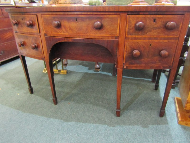 LATE GEORGIAN CROSS BANDED MAHOGANY BOW FRONT KNEEHOLE SIDEBOARD, of 4 drawers with wooden knop - Image 2 of 2