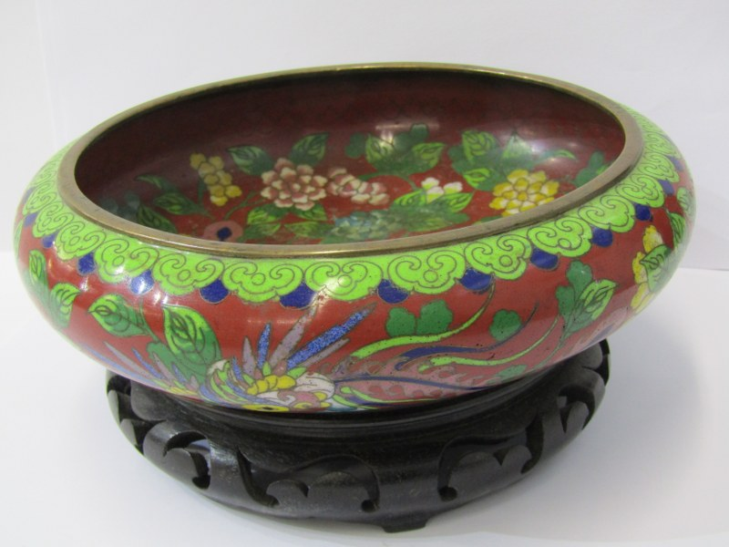 "CLOISONNE, Chinese compressed circular 8"" bowl decorated with Phoenix bird and 4 character signed"