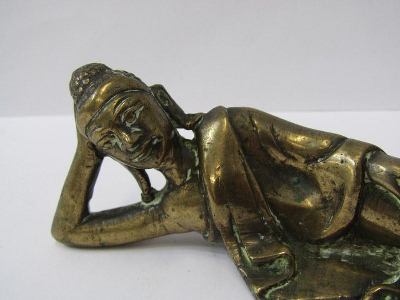 "ORIENTAL METALWARE, Bronze figure of reclining sage, 6"" length - Image 2 of 5"