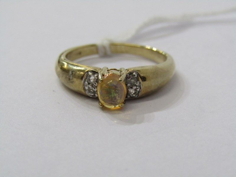 9CT YELLOW GOLD JELLY OPAL SOLITAIRE RING, principal oval cabochon cut jelly opal with diamonds to