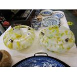 SPLATTERGLASS, pair of vintage yellow splatter glass ceiling shades