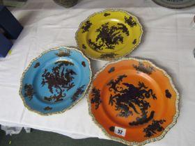 "MASONS IRONSTONE, set of 3 ""Gilt Dragon"" pattern 10.5"" dia wall plates of various ground colours"