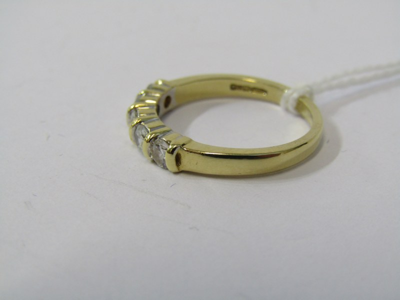 18CT YELLOW GOLD 5 STONE DIAMOND ETERNITY STYLE RING, bright well matched brilliant cut cushion - Image 2 of 3