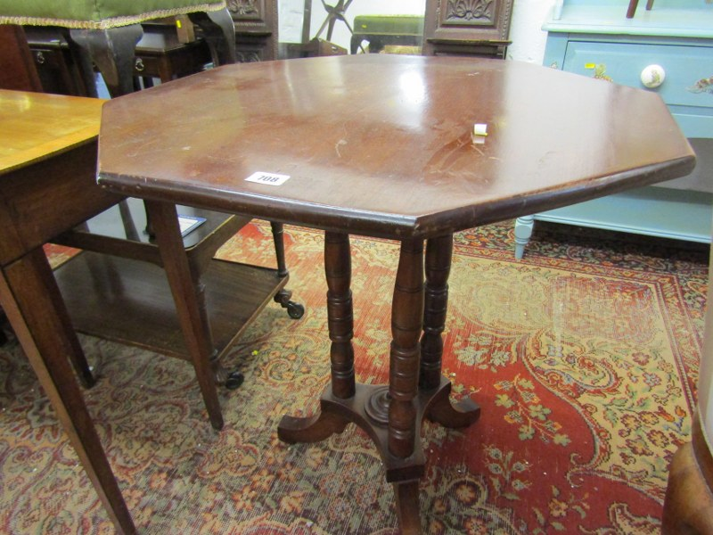 "EDWARDIAN MAHOGANY OCTAGONAL OCCASIONAL TABLE, triple column support base, 27"" width"