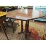 """EDWARDIAN MAHOGANY OCTAGONAL OCCASIONAL TABLE, triple column support base, 27"""" width"""