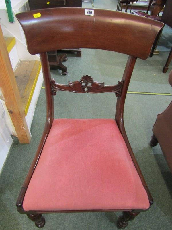 EARLY VICTORIAN DINING CHAIRS, set of 4 mahogany bar back dining chairs, drop-in seats with inverted - Image 2 of 3