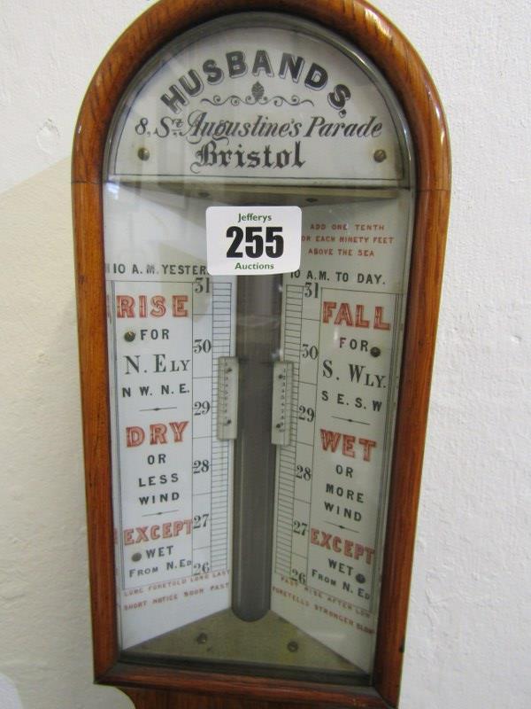 "VICTORIAN BAROMETER, oak case mercury stick barometer by Husbands of Bristol, 38"" height - Image 2 of 3"