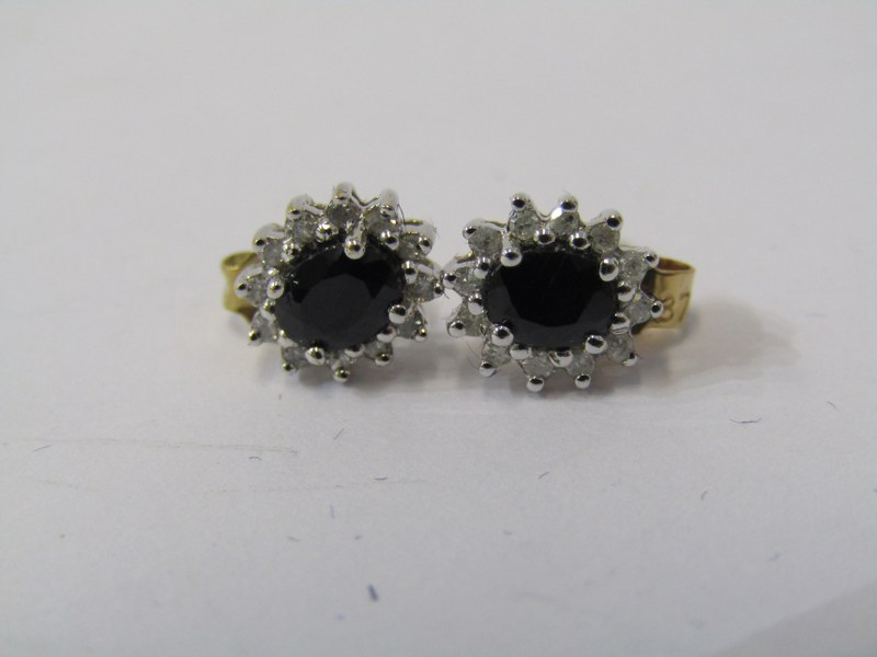 PAIR OF 9ct WHITE GOLD SAPPHIRE & DIAMOND CLUSTER EARRINGS, each earring has principal oval cut