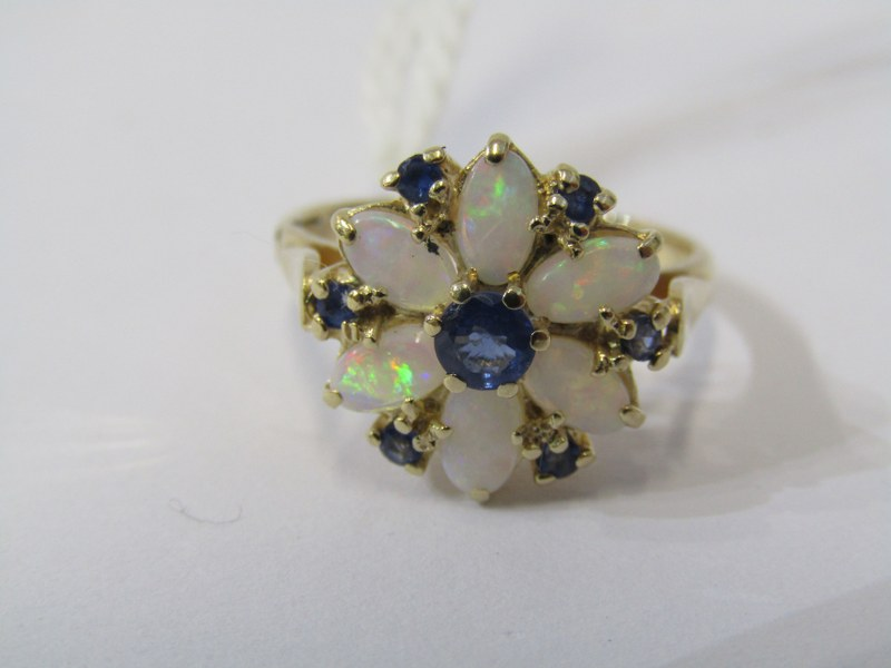 9ct YELLOW GOLD OPAL & SAPPHIRE CLUSTER RING, in the form of a flower, size N