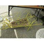 "VINTAGE GARDEN WHEELBARROW ORNAMENT, ornate metal framed wheelbarrow stand 54"" length"