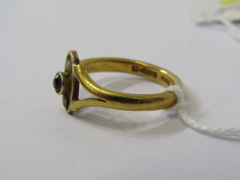 22CT YELLOW GOLD AMETHYST & SEED PEARL RING, approximately 5grms in weight, size L/M - Image 2 of 3