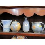 STUDIO POTTERY, collection of 4 pieces salt glazed Truro pottery by Barry Huggett, consisting of 2
