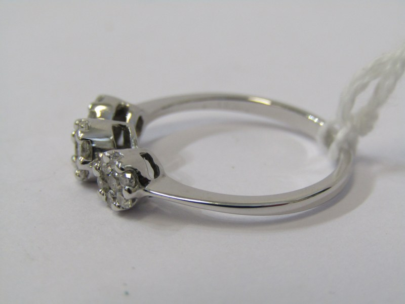 18ct WHITE GOLD TRIPLE CLUSTER RING, 3 illusion set diamond clusters, set to form a 3 stone ring, - Image 2 of 2