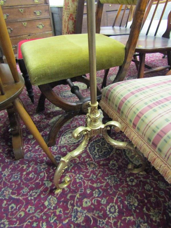 LIGHTING, brass standard lamp with triple branch light fitting and tripod scroll base - Image 2 of 3