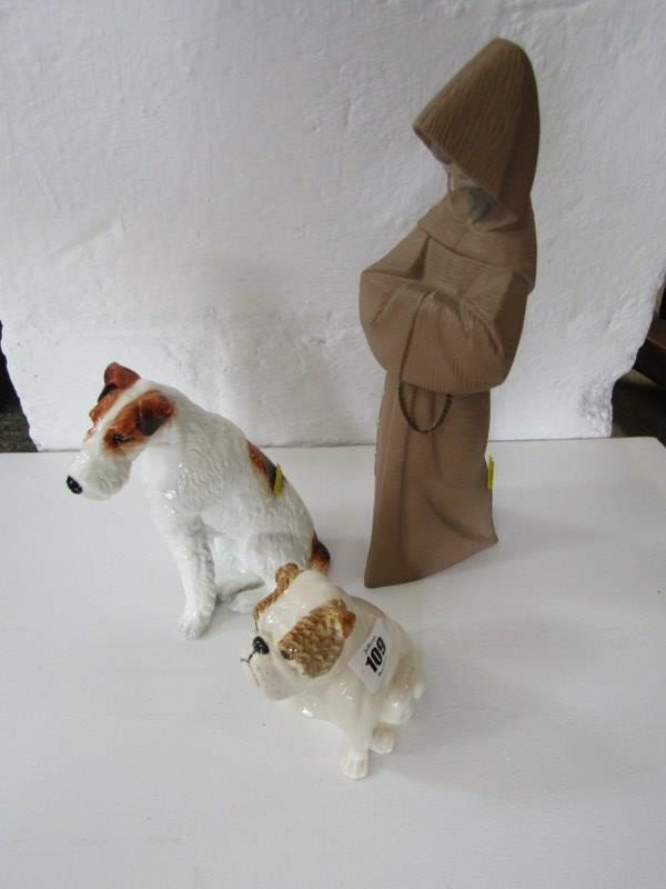 """ROYAL DOULTON SEATED BULLDOG, also limited edition seated Terrier figure, 7"""" height and Lladro Monk,"""