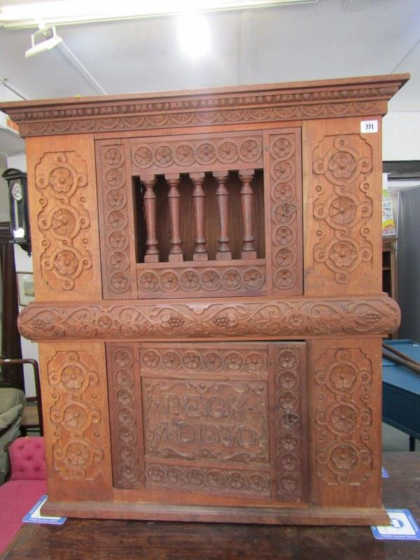 """LIVERY HUTCH, carved oak and rosewood replica food hutch, dated 1930, 35"""" height 30"""" width"""