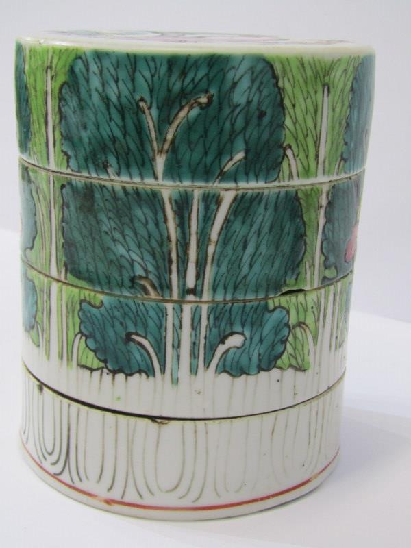 """ORIENTAL CERAMICS, Famille Verte 4 tier cylindrical stacking jar decorated with children playing, 4"""" - Image 3 of 6"""