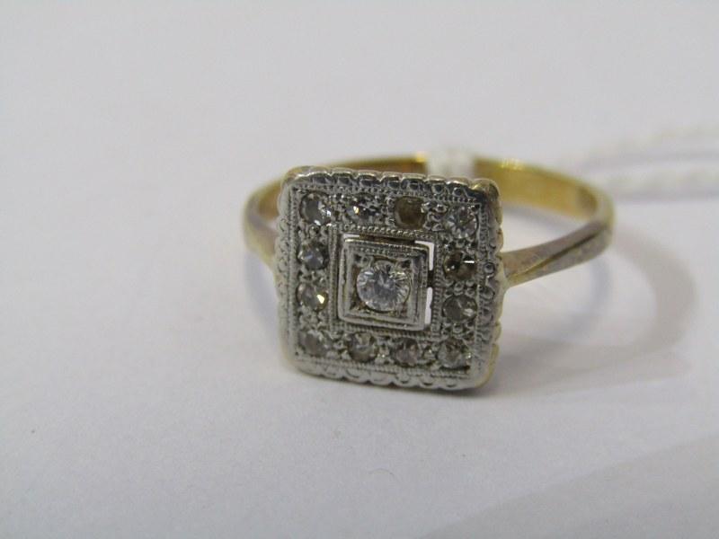 VINTAGE 18ct YELLOW GOLD & PLATINUM DIAMOND CLUSTER STYLE RING, size J