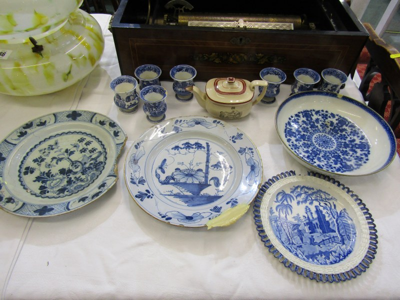 REGENCY MINIATURE PORCELAIN TEA POT, collection of 7 Willow Pattern egg cups, also 2 early Delft