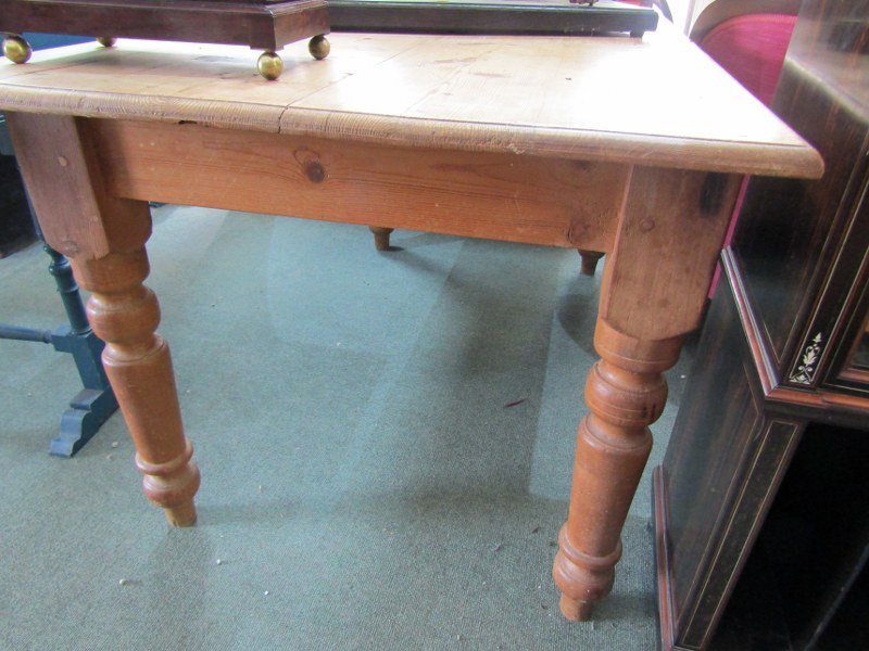 """PINE FARMHOUSE TABLE, tapering turned legs, 33"""" width 60"""" length"""