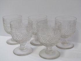 "ANTIQUE GLASSWARE, set of 5"" Georgian design cut glass rummers"