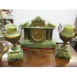 CLOCK GARNITURE, green onyx 3 piece clock garniture, open brocot escapement with temple design clock