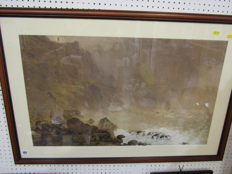 """J. M. NICHOLSON, signed watercolour, dated 1874 and 1887 """"Stormy Waves at base of Cliff"""", 18"""" x 29"""""""
