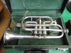 """MUSICAL INSTRUMENT, cased Trumpet """"Lafleur"""" imported by Boosey & Hawkes"""