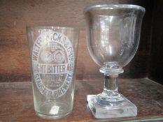 ANTIQUE GLASSWARE, 19th Century square base heavy rimmed goblet, also Walter Hicks & Co, St