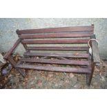 A wooden garden bench.