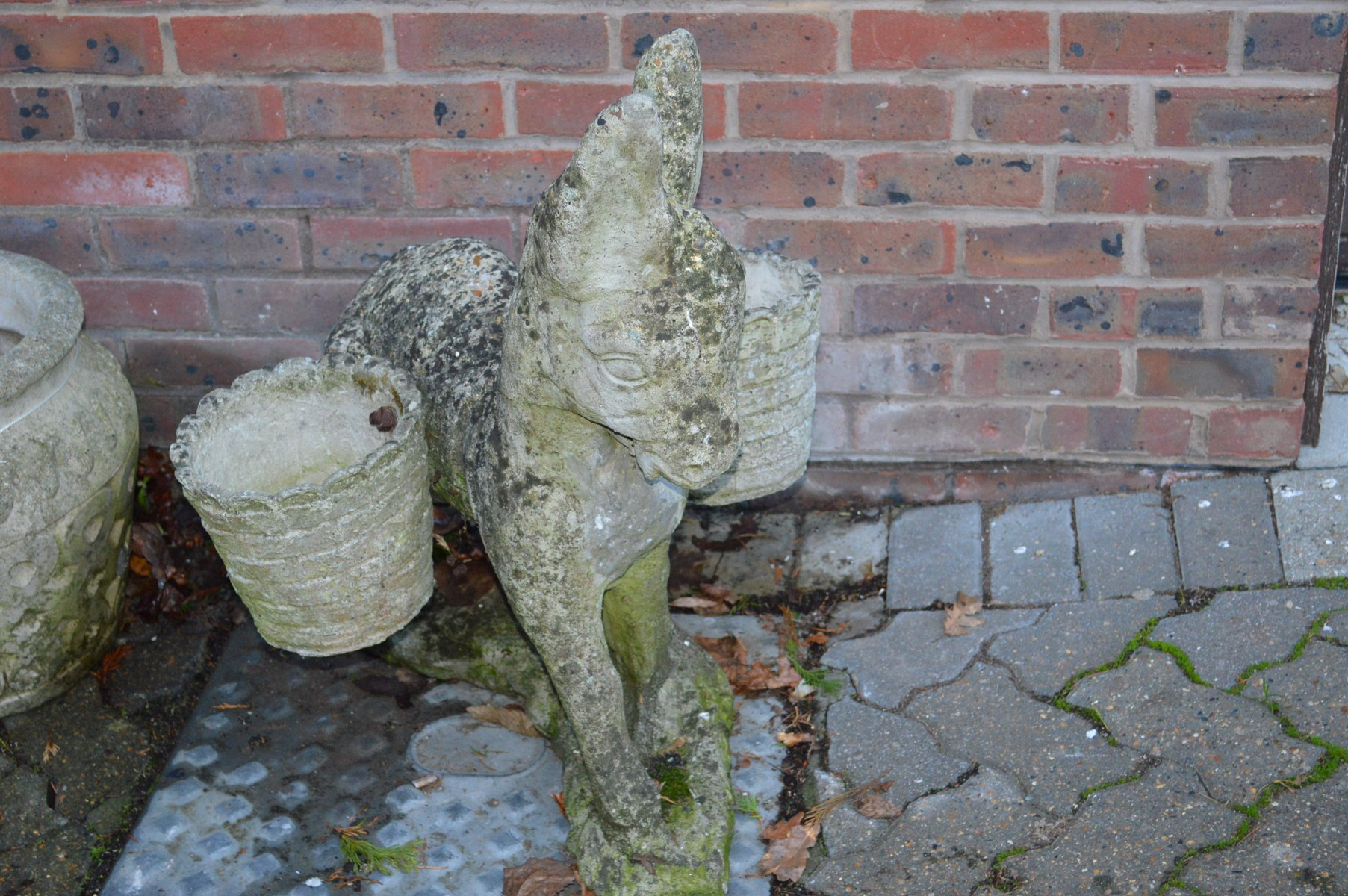 An unusual garden planter modelled as a donkey.