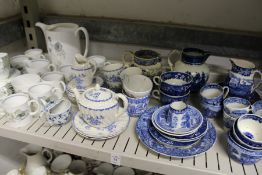 Blue and white china with various part services.