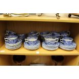 A quantity of Spode Italian pattern blue and white tea cups coffee cups, saucers, plates etc.