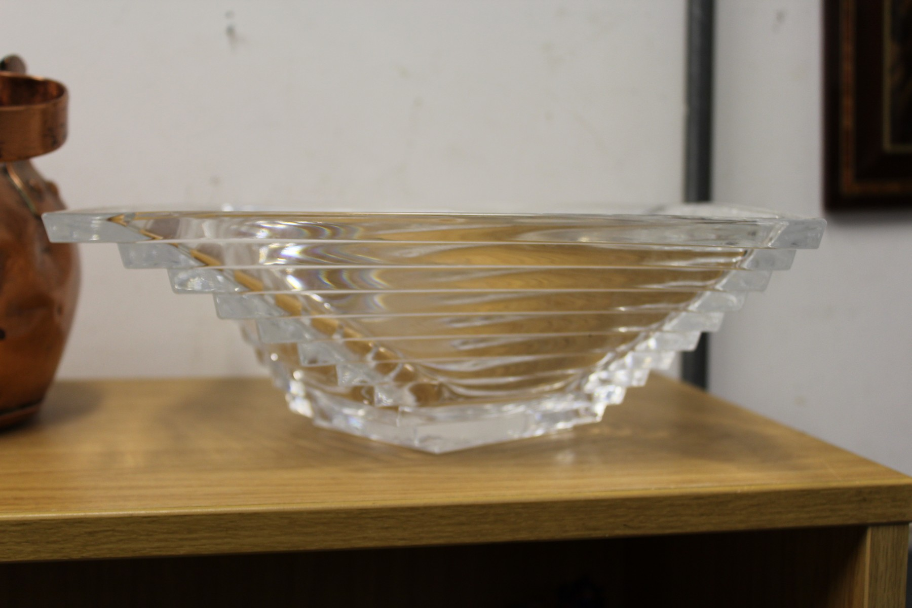 A stylish cut glass bowl.